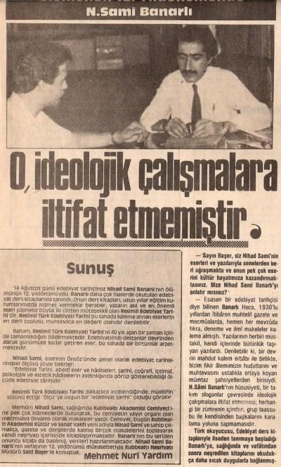 Mehmet Nuri Yardım'ın Sait Başer İle N. Sami Banarlı Hakkında Söyleşisi (1)
